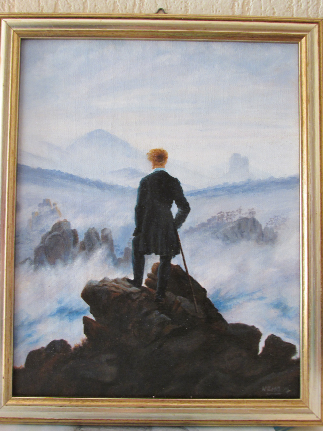 Caspar David Friedrich Master Copy - Wanderer Above the sea of fog
