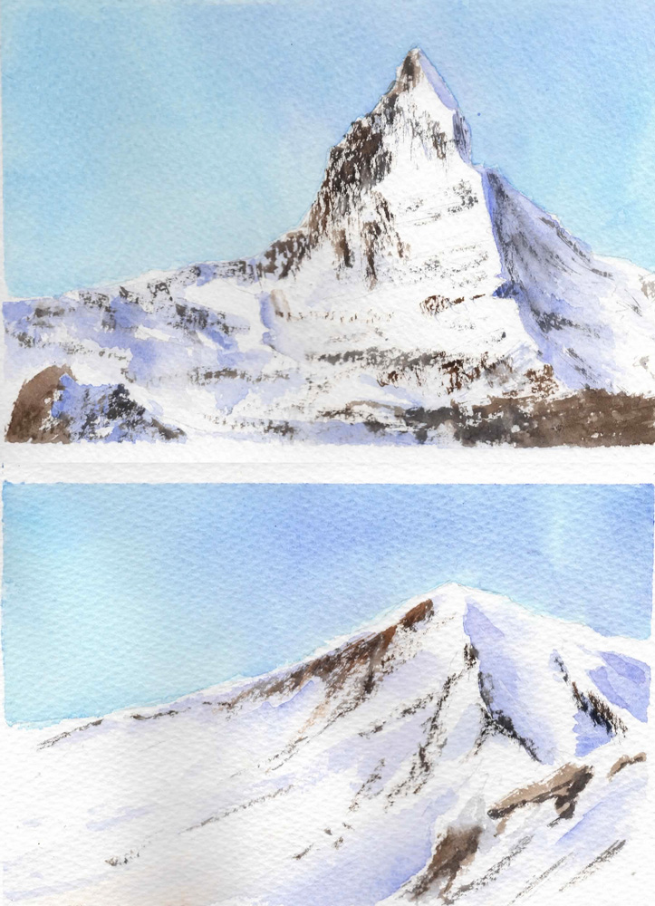Watercolor Snow Capped Mountains
