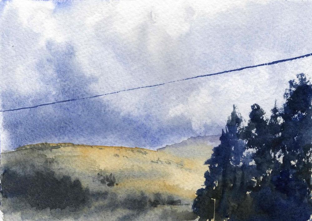 Watercolor landscape sketch - threatening sky