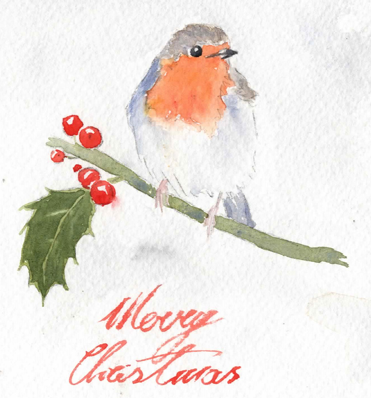 Watercolor Christmas Cards 2014 - Robin 1