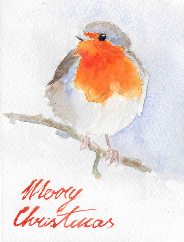 Watercolor Christmas Cards 2014 - Robin 2
