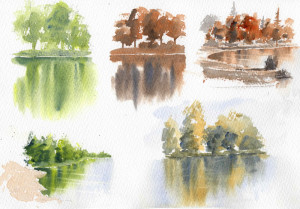 watercolor reflections exercise