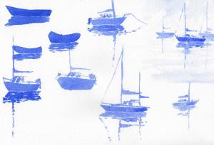 watercolor boat ripples