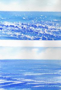 watercolor choppy sea exercise