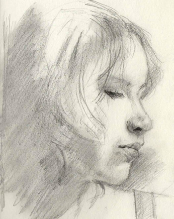 portrait study in pencil - young woman