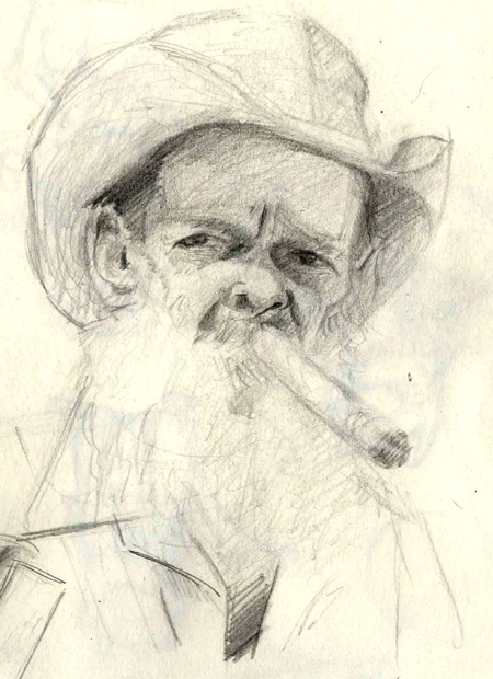 pencil sketch of an old man with cigar