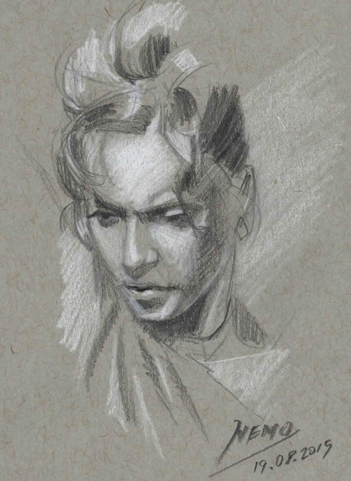Dancing Woman Sketch on toned paper