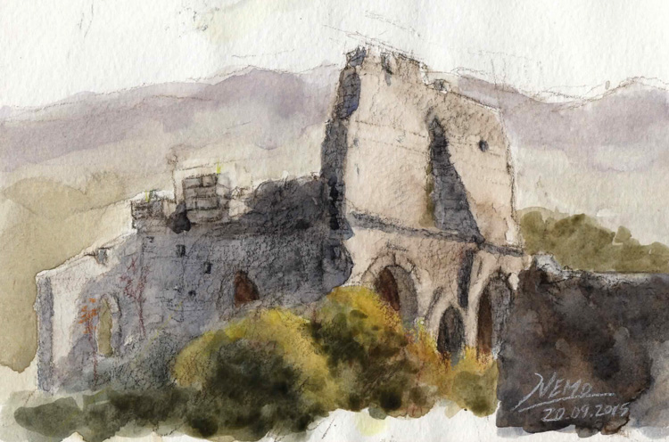 Watercolor Church Ruins