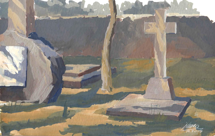English Graveyard in Gouache
