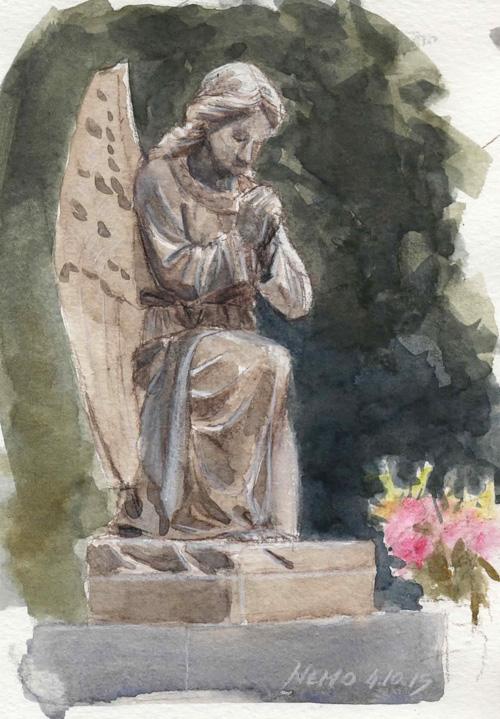 Watercolor Sketch - Praying Angel