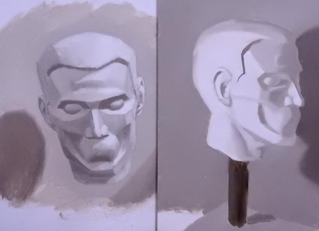 Head maquette tone studies
