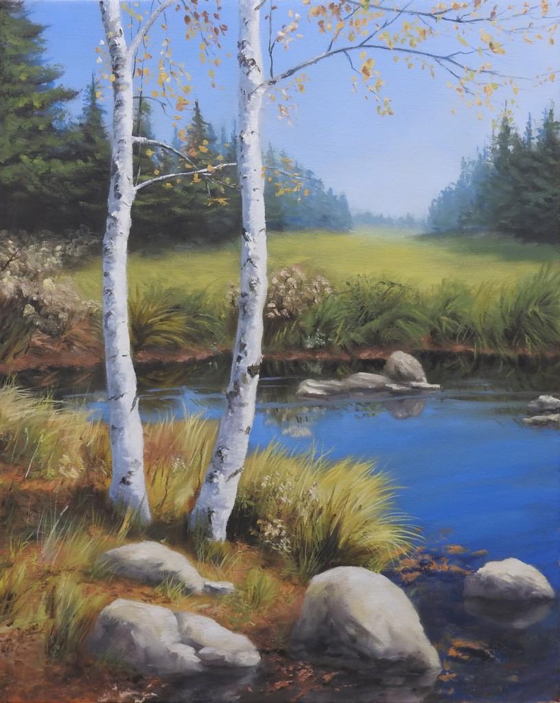 Autumn Rest - Birch Trees oil Painting