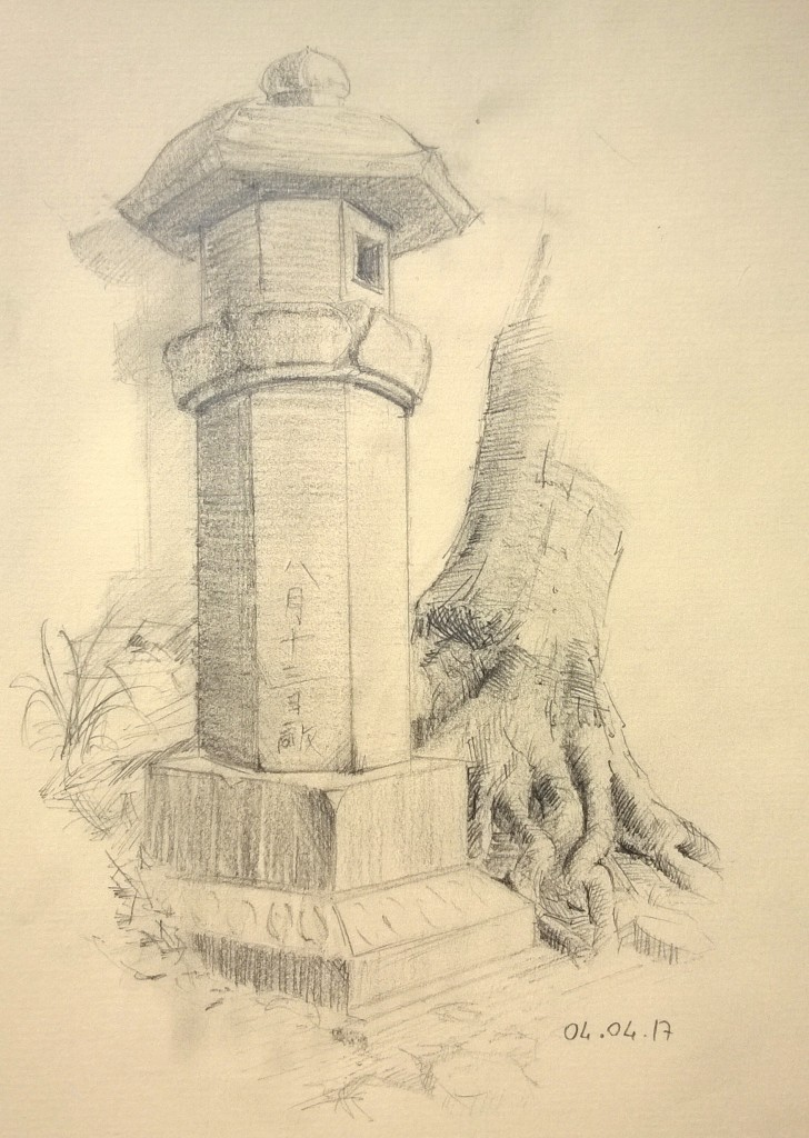 Japanese shrine atmosphere pencil sketch