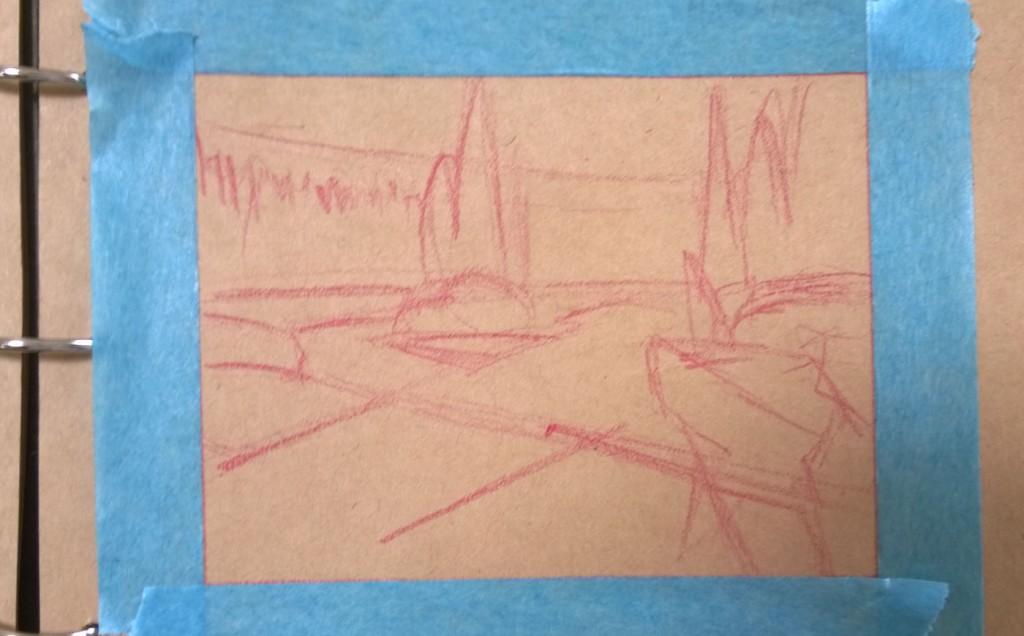 Gouache landscape master study initial sketch