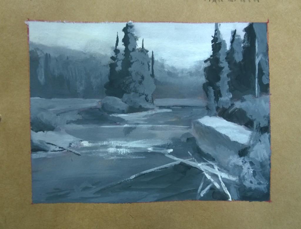 Gouache landscape master study Scott Christensen RiverGouache landscape master study initial color block in