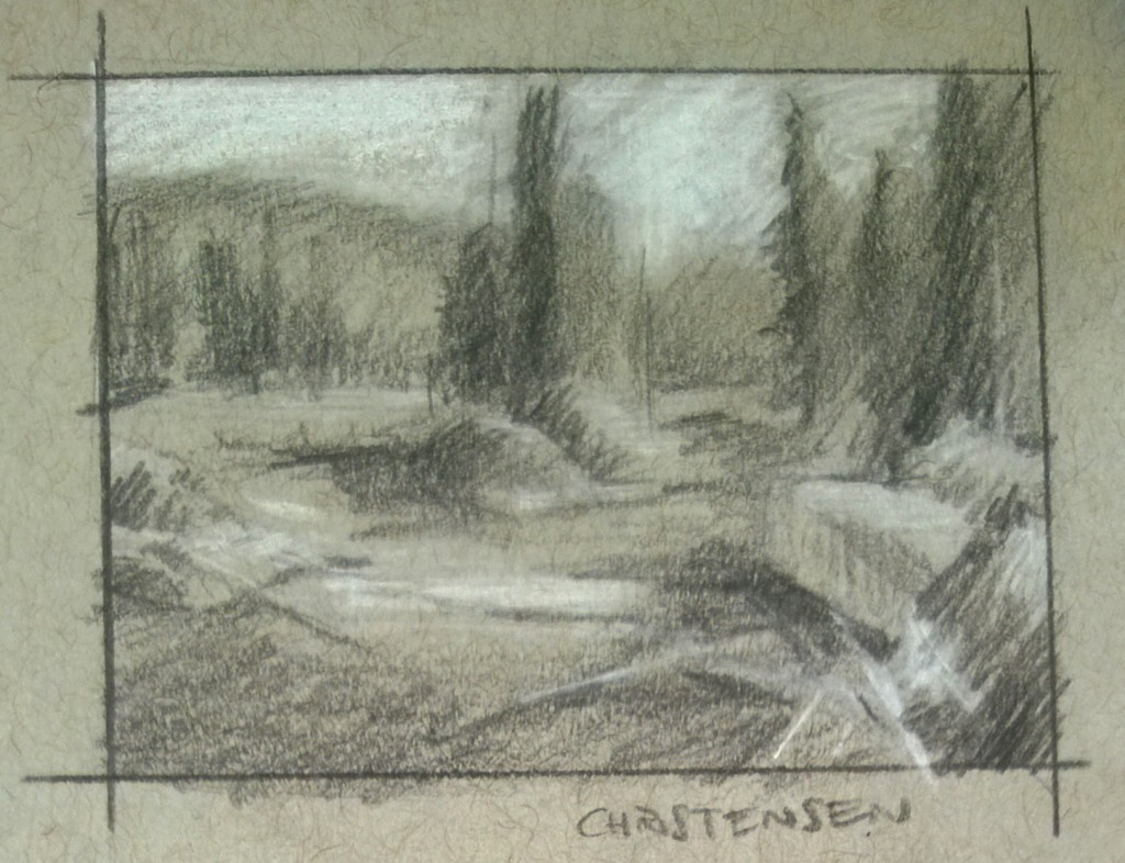 Scott Christensen River Pencil Study for Gouache Painting