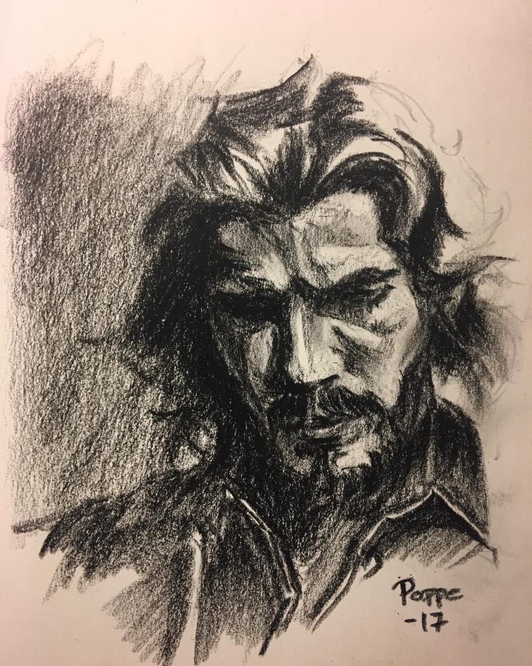 Poppe Totte 1 hour portrait sketch - Charcoal