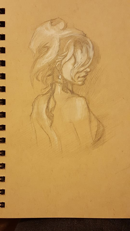 Viet Hoang toned sketch female