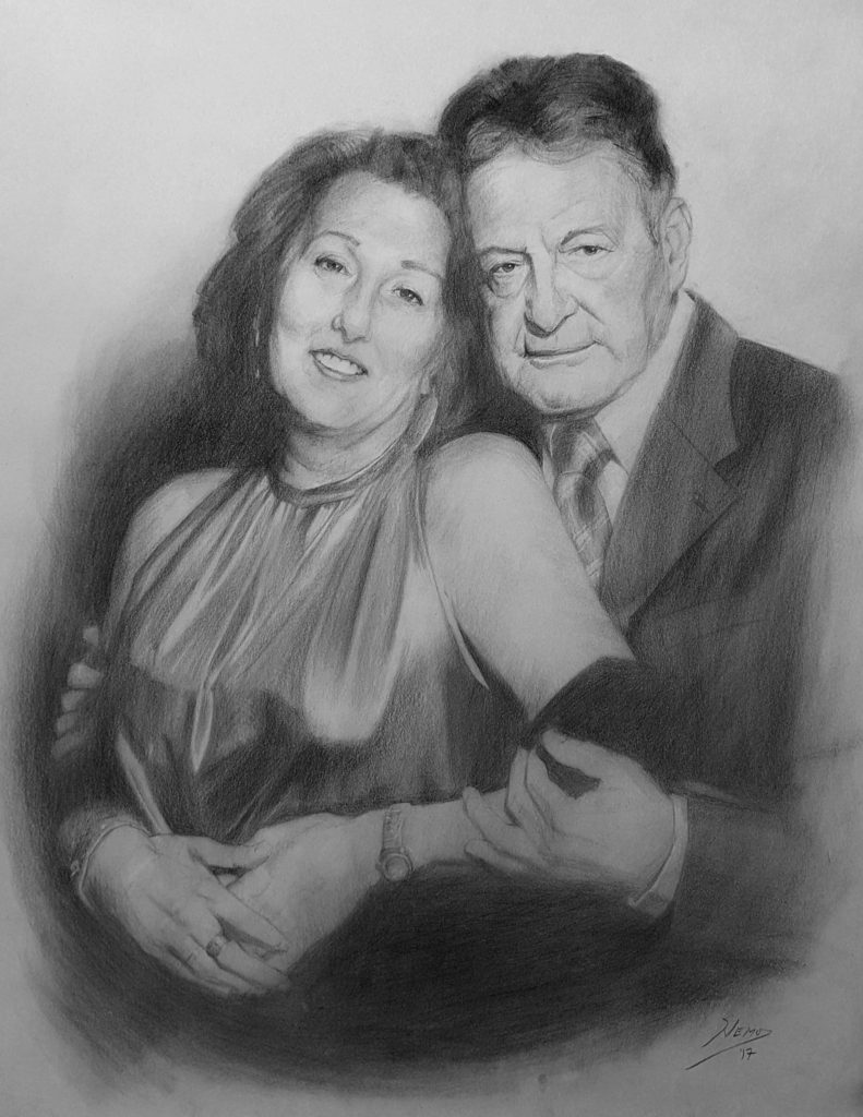 Mom and Dad's Portrait in charcoal