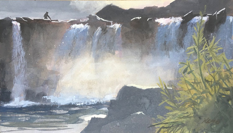 gouache painting of Harajiri Waterfall